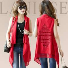 Irregular knitted vest outerwear tassel sleeveless cutout shoulder cape women's plus size loose Free Shipping