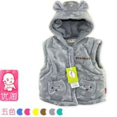 Free Shipping Baby vest spring and autumn baby vest infant hooded cotton vest newborn vest