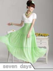 saia vestidos 2013 New Arrival Pink Doll Fresh Green Full-skirted Patchwork Long Chiffon Dress CR033105