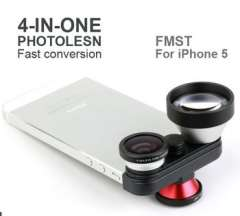 4in1 Super Telescope 5x Front & Back Fisheye Macro Mobile Phone Camera Lens Set For iPhone 5 5S