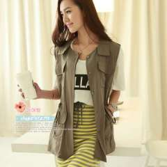 2013 summer loose sleeveless pocket shirt military handsome vest coat women's Free Shipping