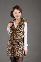 Faux vest fashion leopard print 2013 medium-long with a hood formal brief child Free Shipping