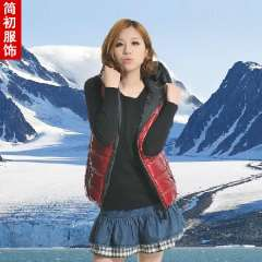 Free Shipping 2013 autumn and winter shiny with a hood thickening cotton vest vest female