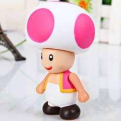 Lovely Super Mario Brothers PVC Mushroom Figure - White with Deep Pink
