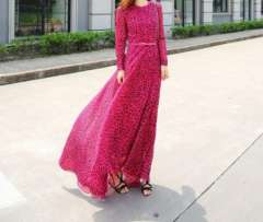 Free Shipping 2013 New Fashion European Brand Style Leopard Print Long Maxi Chiffon Dresses with belt Saia Vestido FR102234