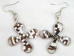 White brown fashion charm beads earrings