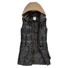 Slim all-match cotton vest women's sleeveless with a hood vest medium-long Free Shipping