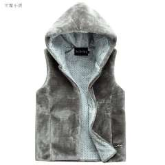 2013 autumn and winter wool vest male fashion with a hood zipper plush vest male casual warm Free Shipping