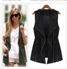 Fashion women's 2013 casual vest female sleeveless long paragraph vest thin chiffon vest spring and summer outerwear