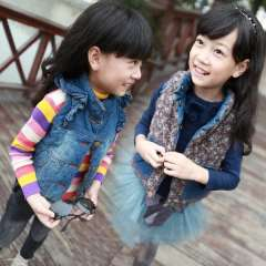 Female child vest spring and autumn children's clothing female child autumn 2013 baby child denim vest Free Shipping