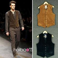 Free Shipping Single male spring and autumn slim all-match corduroy patchwork vest outerwear Men