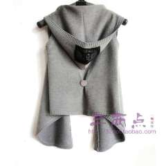 Irregular with a hood vest fashion knitted vest cardigan solid color all-match yarn vest black grey Free Shipping