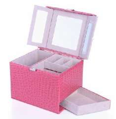 Open Xin Bao European side can pull large-capacity jewelry box - pink crocodile pattern (K85 / 5-2)