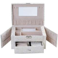 Open Xin Bao Almighty Continental side door can double square jewelry box / jewelry storage box - white embossed pattern