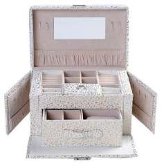 Open Xin Bao European side door can double capacity jewelry box / jewelry storage box - white embossed pattern