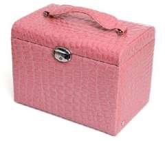 Open Xin Bao luxury jewelry box large capacity - pink crocodile pattern (K85 / 4-2)