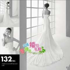 Elegant fashion tube top paragraph of the flowers beading wedding dress is quality wedding dress series Free Shipping