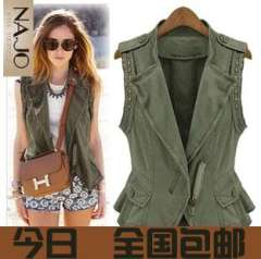 Fashion women's 2013 rivet epaulette personality oblique zipper motorcycle military vest outerwear female Free Shipping