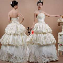 Sweet bride wedding formal dress zipper twill satin hs-425 lantern Free Shipping