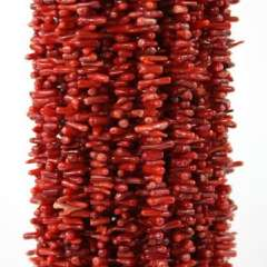 Natural red coral beaded necklace unshaped | 16.5英寸