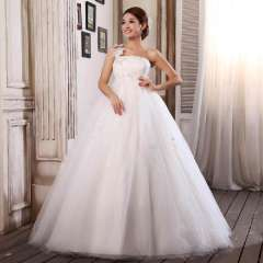 The bride wedding dress maternity one shoulder high waist plus size wedding dress laciness princess wedding dress Free Shipping