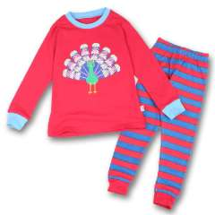 Baby Striped Cute Cartoon Peacock Cotton Pajamas #XC-011 \ Children Garment \ Kids Clothering \ Free Shipping