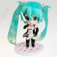 3PCS PVC Anime Hatsune Miku Q Version Figure Toy with White Round Base