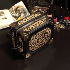 Guangzhou handbags wholesale | 2013 new retro fashion leopard -dimensional bags | horsehair box diagonal package