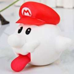 Lovely Super Mario Brothers PVC Boo Ghost Figure - White with Red