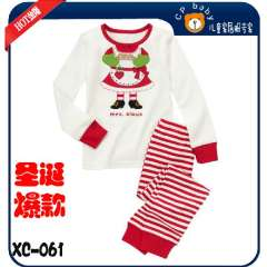 2012 Hot Selling Baby Cartoon Mrs Clous Pajamas # XC-061 \ White Cartoon T-shirt & Striped Trouser \ Free Shipping