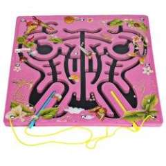 Amazing Butterfly Shaped Labyrinth with Magnetic Pen for Kids - Pink