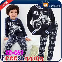 Kids Long Sleeve Cute Cartoon Motorcycle 100% Cotton Pajamas # XC-069 \ Best Gift For Boys \ Free Shipping