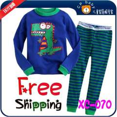 Free Shipping \ Children Cute Cartoon Long Sleeve Knitting Cotton Pajamas # XC-070 \ Wholesale & Retail