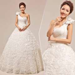 2013 new arrival sweet princess bride one shoulder tube top strap style lace wedding dress Free Shipping