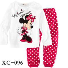 Hot Selling Girl Cute Cartoon Minnie Mouse Long Sleeve 100% Cotton Pajamas #XC-096 \ Kids Sleepwear \ Wholesale \ Free Shipping