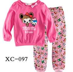 Girl Clothes #XC-097 \ Children Long Sleeve 100% Cotton Pajamas\ Kids Garment \ Wholesale \ Free Shipping