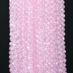 8X5 MM pink crystal beaded necklace section | 16英寸