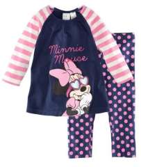 Hot Selling Girl Long Sleeve Cotton Pajams #XC-120 \ Striped Minnie & Mouse T-shirt + Polka Dot Trouser \ Free Shipping