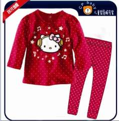 Girl Long Sleeve Red Hello Kitty Cotton Pajamas #XC-123 \ Wholelsale & Retail \ Free Shipping