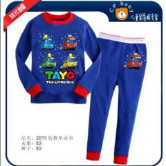 Baby Long Sleeve Blue Cartoon Little Bus Cotton Pajamas #XC-138 \ Wholesale & Retail \ Free Shipping
