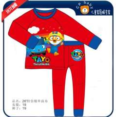 Free Shipping \ Baby Long Sleeve Red Cartoon Little Bus Cotton Pajamas # XC-139 \ Wholesale & Retail