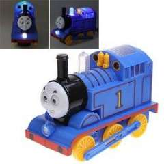 8928 Cool Thomas Train Toy Model Desktop Display with LED Light and Music for Fans Kids (Blue with Yellow)