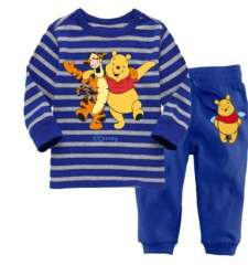 Children Long Sleeve Blue Striped Cartoon Tigger And Teddy Cotton Pajamas #XC-146 \ Wholesale & Retail \ Free Shipping