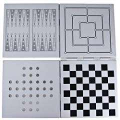 5 in 1 Travel Magnetic Game in Aluminum Case (Checker, Noughts and Crosses, Nine Men' Morris, Backgammon, Single Noble)