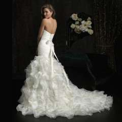 Fish tail wedding dress organza slim waist slim hip small train ruffle strap belt diamond decoration luxury fashion