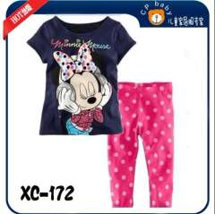 Girl Fashion Summer Wear #XC-172 \ Minnie T-shirt + Pink Polka Do Long Pants \ Wholesale & Retail