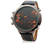 Quartz Movement Analog Sporty Watch with Faux Leather Strap M.
