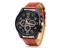 VALIA 9106 Men's Quartz Movement Analog Watch with Faux Leather Strap (Brown) M.