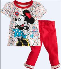 Girl Fashion Mickey Clothering Set #XC-192 \ Short Sleeve T-shirt + Red Long Pant \ Wholesale & Retail