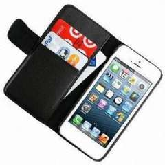 Deluxe Black Leather Folding Wallet Credit Card Case for Apple iPhone 5